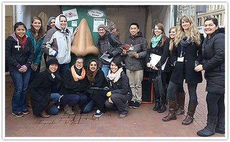 Some of the students who volunteered at 'AWARE in the Square' in downtown Portland